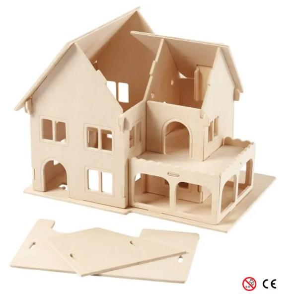 casa dos plantas balcon suelo abierto madera natural para pintar y montar 3D montando