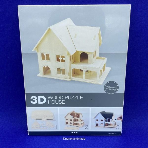casa dos plantas balcon suelo abierto madera natural para pintar y montar 3D pack