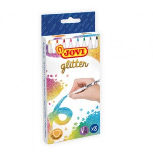 caja 8 rotuladores glitter brilli brilli material manualidades