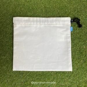 bolsita saquette de tela pintada cara delante blanca manualidades pintar tela
