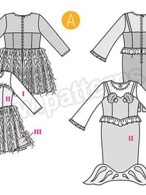 Выкройка Burda №2352 — Карнавальные костюмы: Принцесса, Русалка