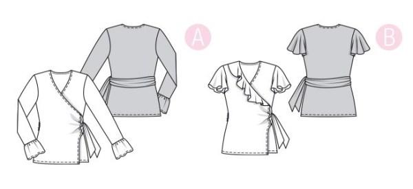 Выкройка Burda №6331 — Блузка с запахом