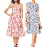 Выкройка Burda №6343 — Платье с цветочным принтом, платье в полоску