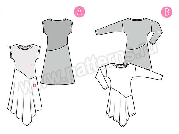 Выкройка Burda №6352 — Платье с неровным низом