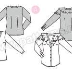 Выкройка Burda №6368 — Блузка с V-образным вырезом