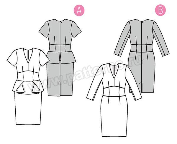 Выкройка Burda  6383 — Платье с баской
