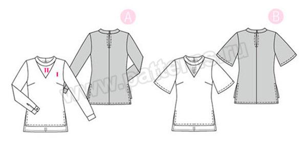 Выкройка Burda №6424 — Блузки с V-образным вырезом