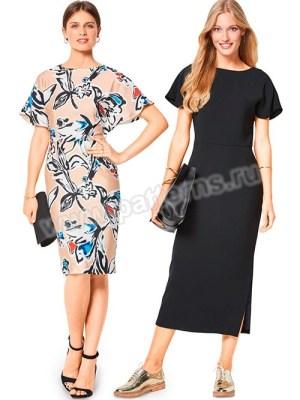 Выкройка Burda №6439 — Платье с рукавами-крылышками