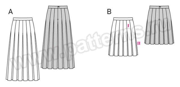Выкройка Burda №6466 — Юбка со складками