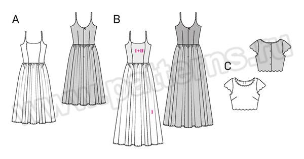 Выкройка Burda №6519 — Платье, Топ