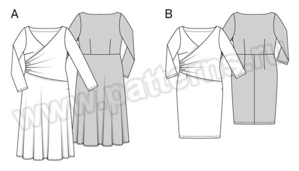 Выкройка Burda №6619 — Платье с драпировкой