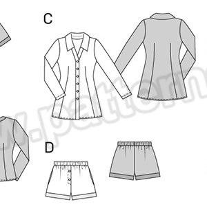 Выкройка Burda №6742 — Пижама, Ночная рубашка
