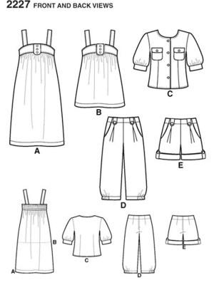 Выкройка Simplicity №2227 — Комплект: топ, сарафан, жакет, брюки-карго, шорты