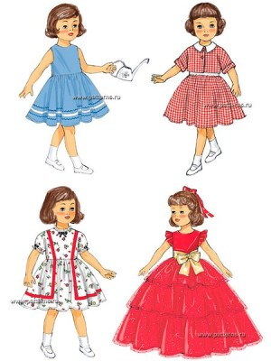 Выкройка Butterick — Ретро 1957: Одежда для куклы - B6265
