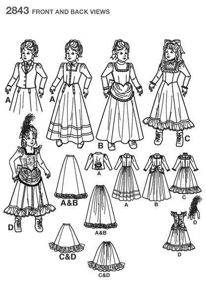 Выкройка Simplicity — Исторический костюм - S2843 ()