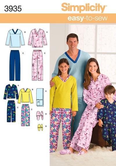 Выкройка Simplicity — Одежда для сна и отдыха - S3935