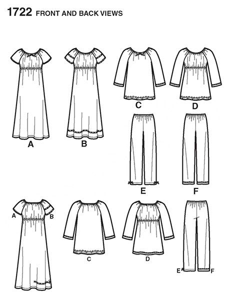 Выкройка Simplicity — Пижама, Ночная рубашка - S1722