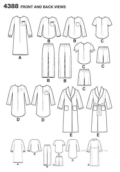 Выкройка Simplicity — Пижама, Ночнушка, Халат - S4388