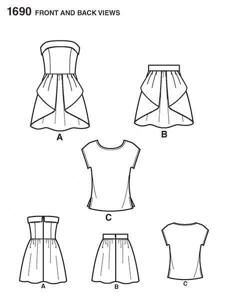 Выкройка Simplicity — Платье, Топ, Юбка - S1690 ()