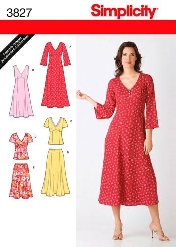 Выкройка Simplicity — Платье, Топ, Юбка - S3827 ()