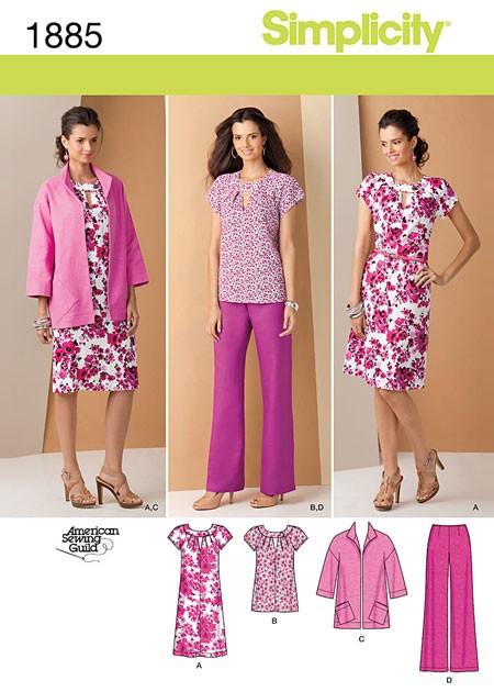 Выкройка Simplicity — Платье, Топ, Жакет, Брюки - S1885 ()