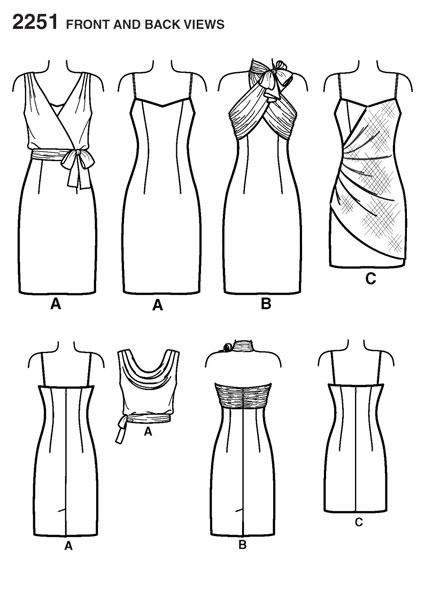 Выкройка Simplicity 2251— Вечернее, коктейльное платье для девушки