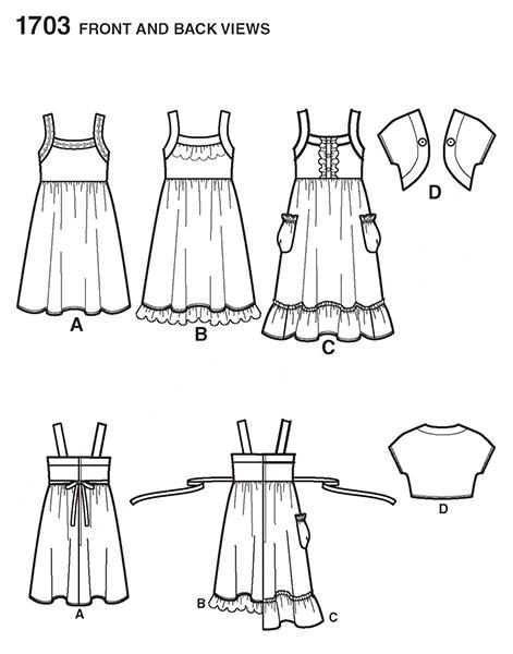Выкройка Simplicity — Сарафан, Короткий жакет - S1703
