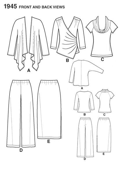 Выкройка Simplicity — Топ, Блузка, Кардиган, Юбка, Брюки - S1945