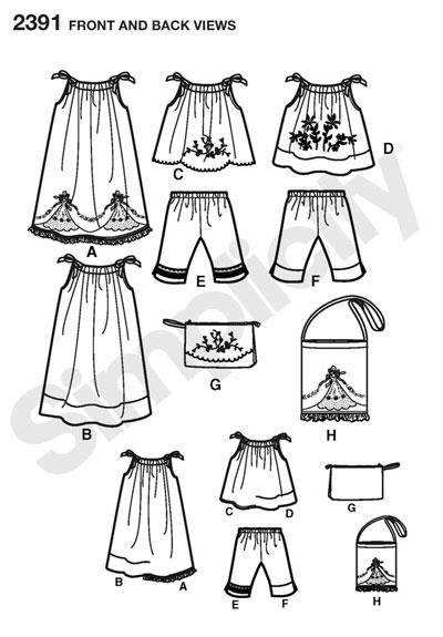 Выкройка Simplicity — Топ, Платье, Брюки, Сумка - S2391