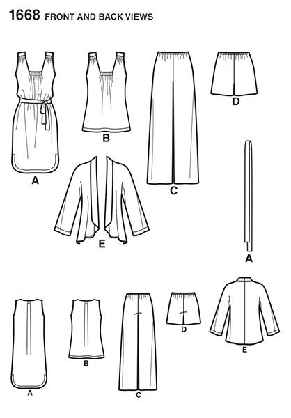 Выкройка Simplicity — Топ, Сарафан, Жакет, Брюки, Шорты - S1668 ()