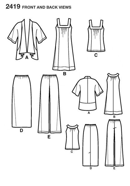 Выкройка Simplicity — Топ, Сарафан, Жакет, Юбка, Брюки - S2419 ()
