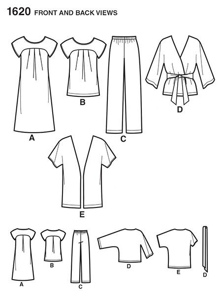 Выкройка Simplicity — Туника, Платье, Брюки - S1620 ()