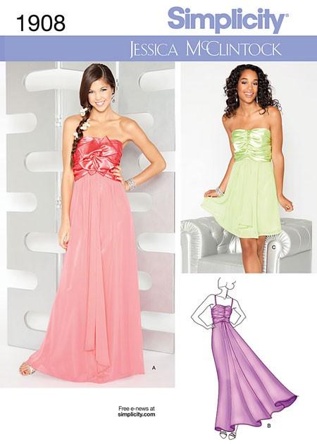 Выкройка Simplicity — Вечернее платье с завышенной талией - S1908 ()