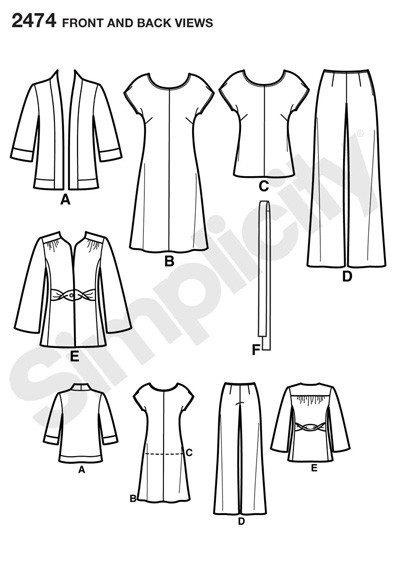 Выкройка Simplicity — Жакет, Платье, Брюки, Шарф - S2474 ()