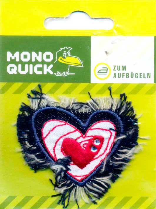 Термоаппликация Сердце Джинсовое вышитое (арт. 4117)