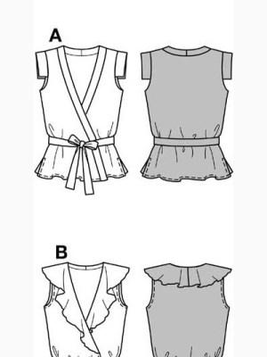 Выкройка Burda №7911 — Блузка с воланом