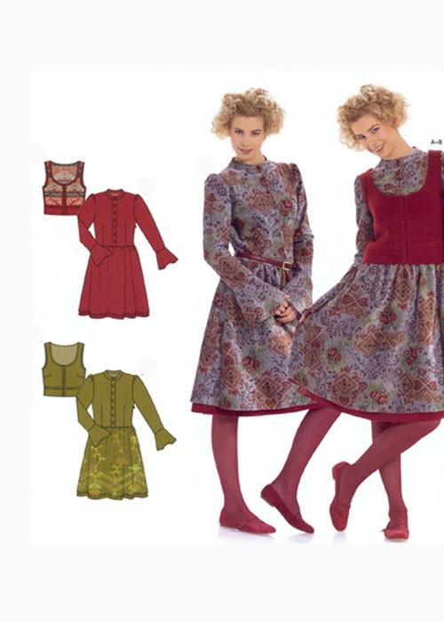 Выкройка Burda 8000 Платье, жилет в фольклорном стиле
