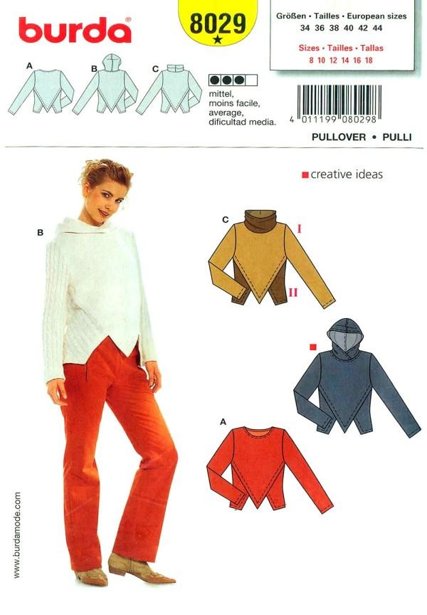 Выкройка BURDA №8029 — Пуловер
