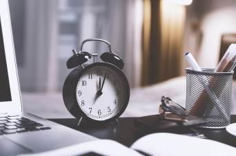 Alarm clock on desk