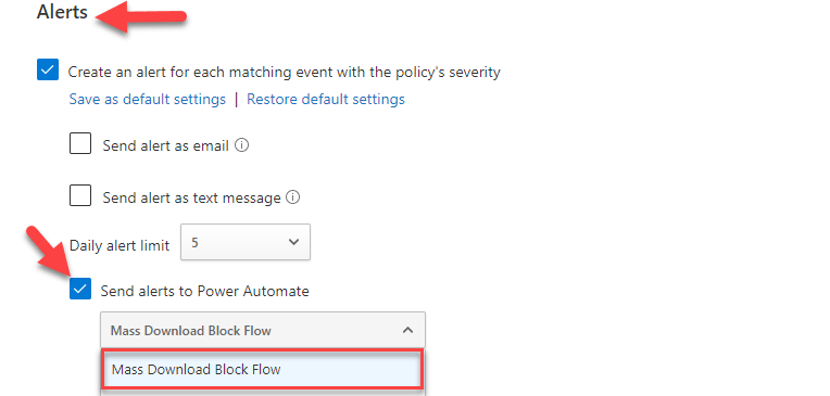Send alerts to Power Automate