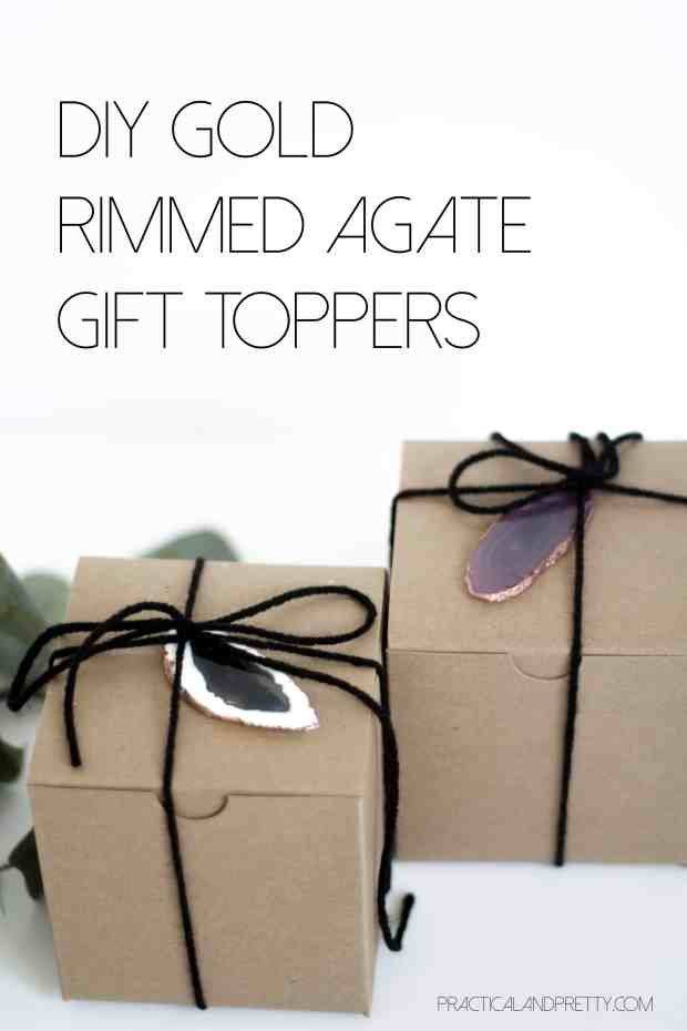 DIY gold rimmed agate gift toppers