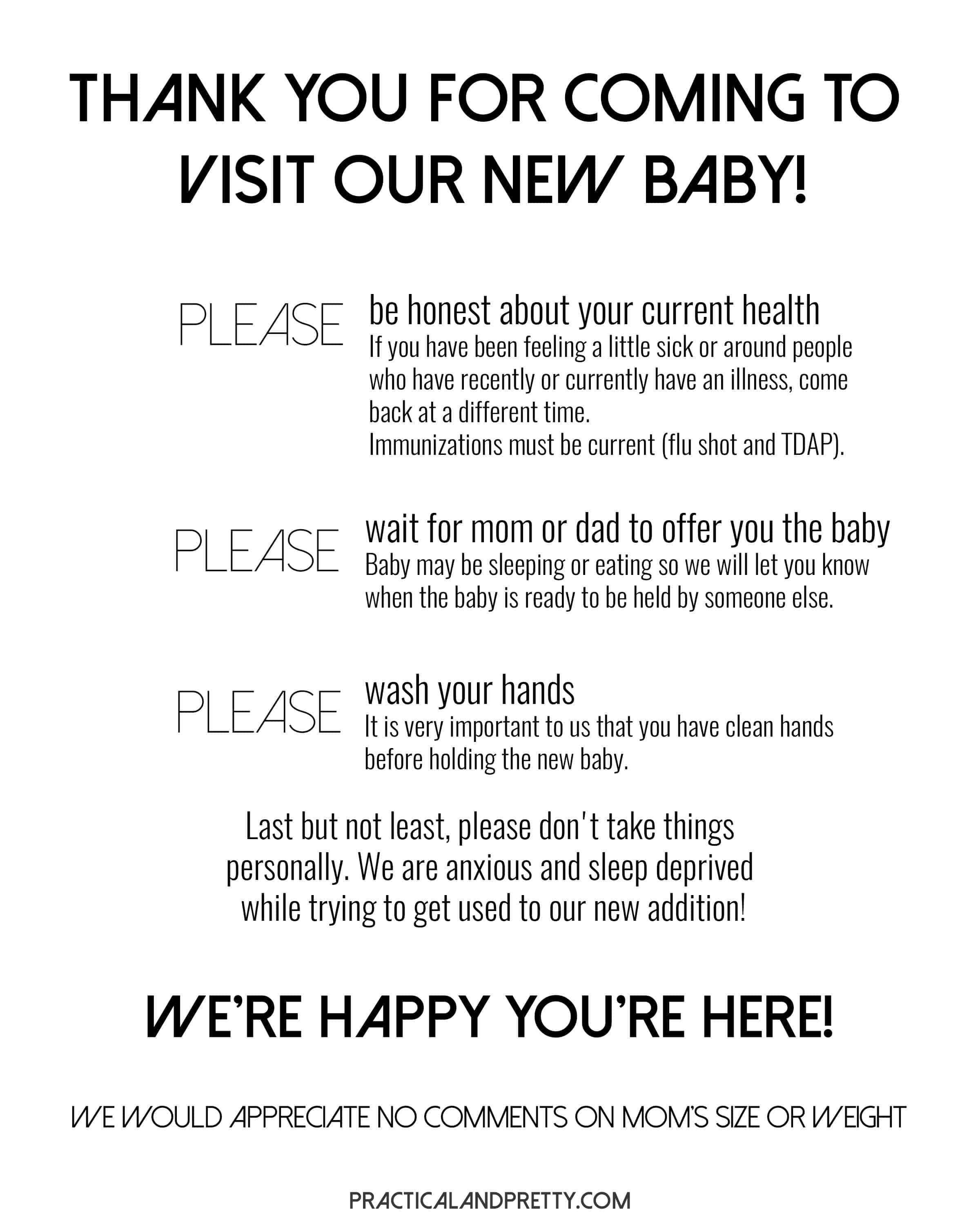 Newborn Visitor Instructions Printable