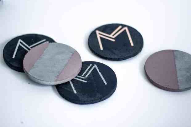 DIY cement coasters and instructions. Monogrammed with Art Deco font!