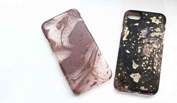 This water marbled phone case is so easy but so cute!