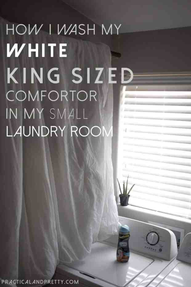 Washing a king sized comforter in a tiny laundry room can be hard, but I've got a super simple solution for you!