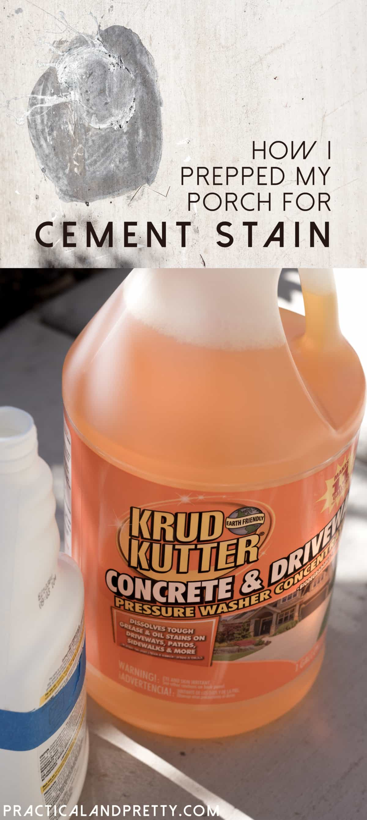 Cleaning your concrete patio isn't difficult and doesn't require a pressure washer with Krud Kutter! See how I prepped my cement for staining.