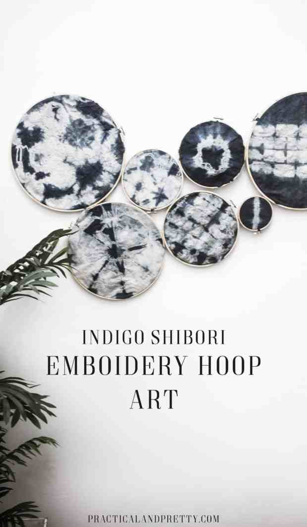 It is so easy to create beautiful art with an embroidery hoop or two! I love how this shibori indigo art piece turned out.