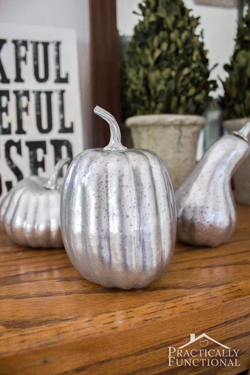 DIY Faux Mercury Glass Pumpkins with foam pumpkins