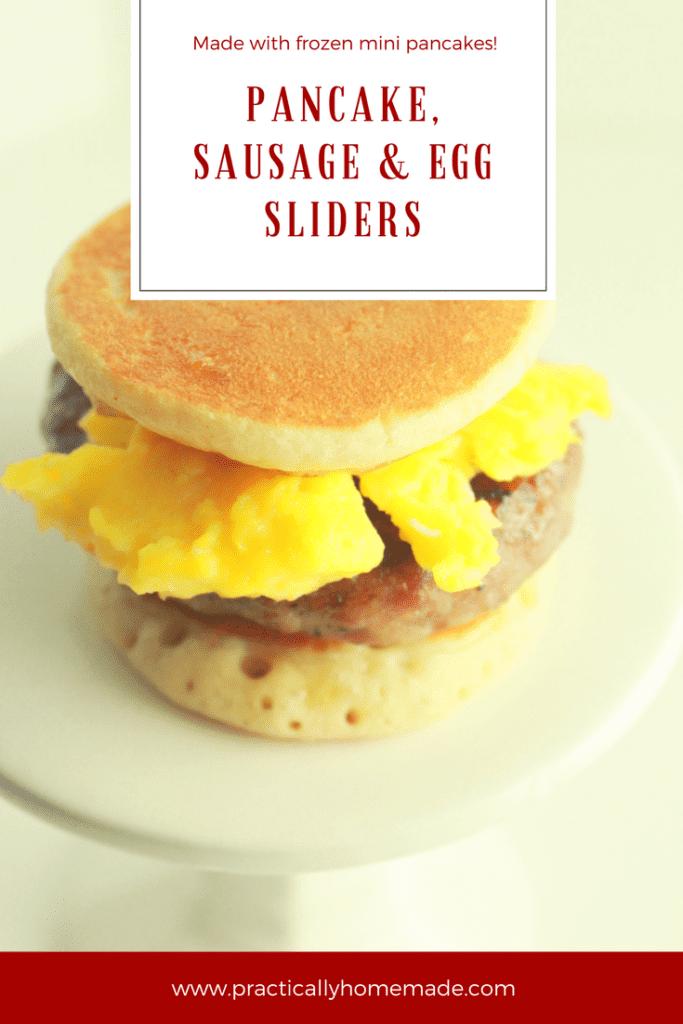 pancake sliders   pancake sliders recipe   pancake sliders breakfast sandwiches   pancakes, sausage and egg   breakfast sliders   breakfast sliders recipe   breakfast ideas   breakfast recipes easy