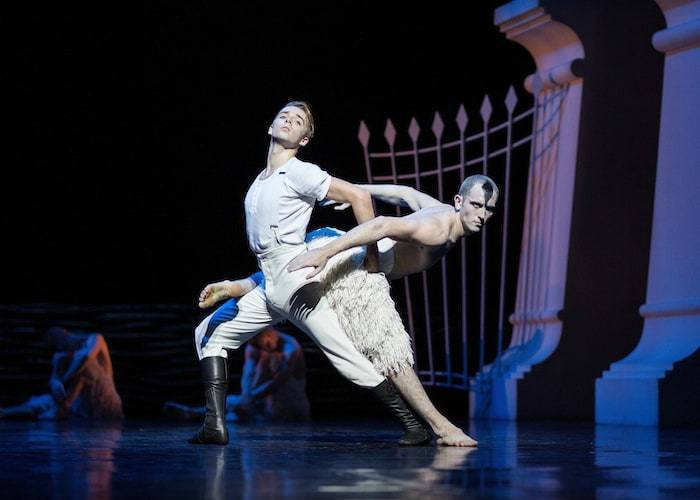 Liam Mower as The Prince and  Chris Trenfield as The Swan in Matthew Bourne's Swan Lake